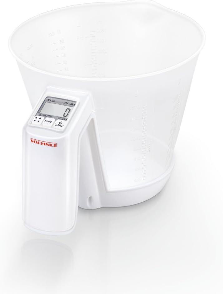 Soehnle Báscula Baking Star Báscula de cocina para ingredientes líquidos y sólidos, peso digital con cuenco, balanza digital con precisión de 1 g