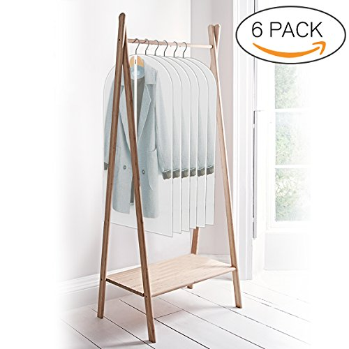 ELEGLIFE Garment Bags (6-Pack): 24''x48'' for Coats, Dresses, Suits, Gowns – Clear Storage Bags, Breathable Protective Cover for Moths, Dust and Moisture, Heavy Duty Zipper, Hanging Travel (Out Of The Closet Costumes)
