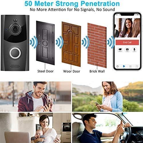 M11スマートワイヤレスWifiビデオインターホンドアベル、720P電話ドアベルホームセキュリティリモートモニタリングナイトビジョンカメラ