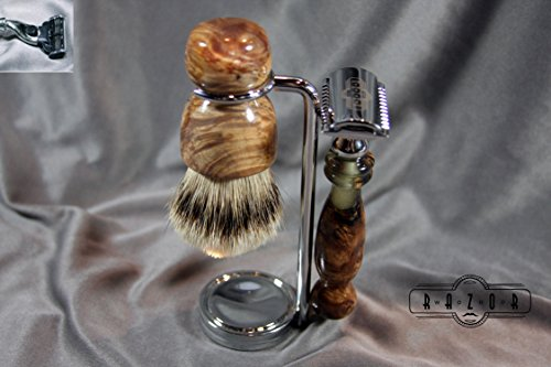 Maple Burl Shaving Set with Silvertip Badger Hair Brush and Clear Resin Cast by Wood Razor