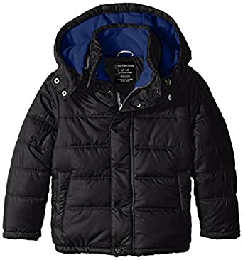 Calvin Klein Little Boys' Eclipse Short Bubble Jacket, Black, 4