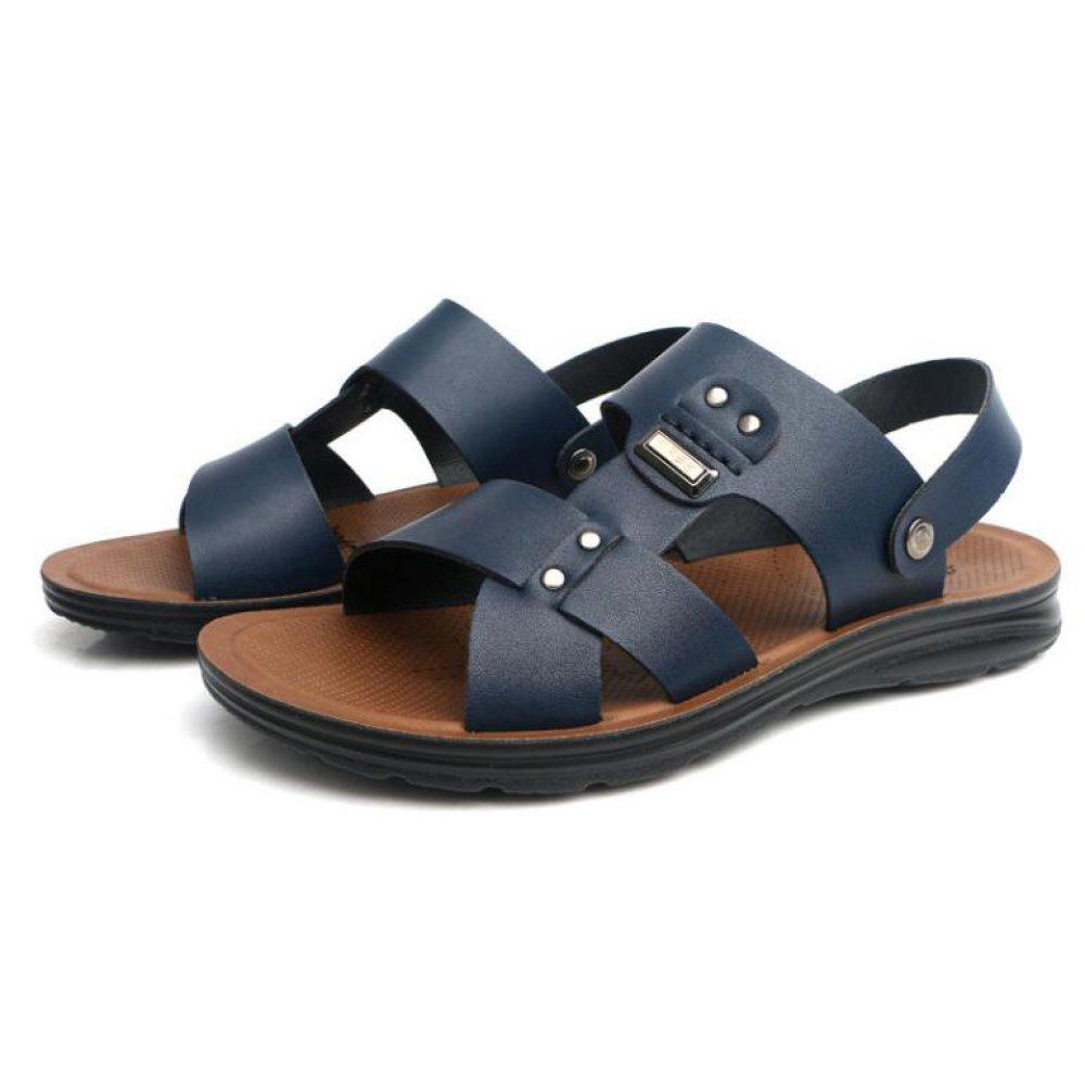 snfgoij Herren Sandalen Einstellbare Outdoor Sports Bequeme Strand Schuhe Sommer Open Toe Leder Atmungsaktive Freizeitschuhe Blue