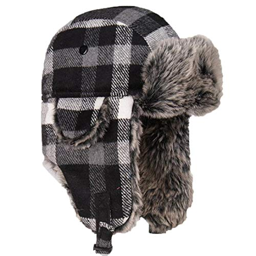 (Unisex Bomber Trooper Trapper Hat,Winter Warm Earflap Hats Plaid Woolen Caps Aviator Snow Ski Cap)