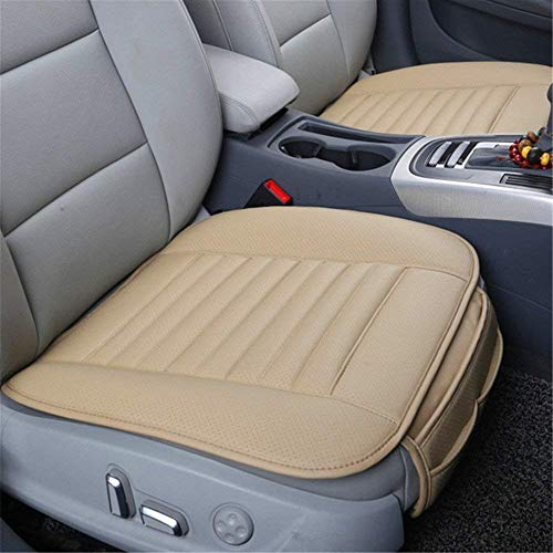 1 Pc Car Seat Cushion Driver Seat Cover Leather Beige, Car Mats Pads Mattress Bamboo Charcoal Waterproof Breathable Comfortable Universal for Auto Car SUV Office Chair to Adults & Kids.