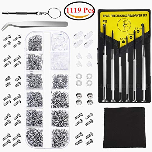 1119Pcs Eyeglasses Repair Kit Micro Screws Nut Washer Nose Pads Assortment Set with Screwdriver -