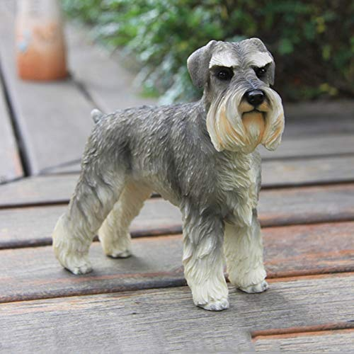 - RMJAI Statue Germany Schnauzer Dog Sculpture Statue Simulation Animal Figurine Model Resin Crafts Dog Ornaments Decorated Home Decors Resin Ornaments in Home Decoration (Color : A)