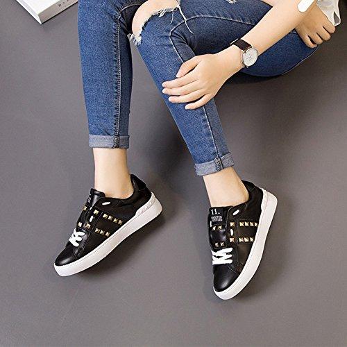 Summerwhisper Femmes Rivets À La Mode Cloutés Bout Rond Bas Bas Top Lacets En Cuir Chaussures De Skate Noir
