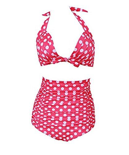 Women's High-waist Retro Polka Dot Bikini Push Up Swimsuit Swimwear (Pink),Large