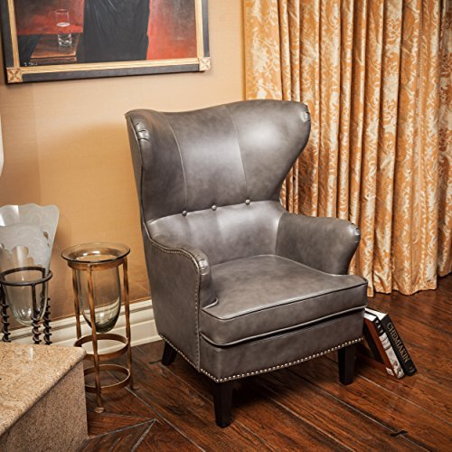 Romford Charcoal Grey Bonded Leather Wingback Club Chair (Wingback Leather)