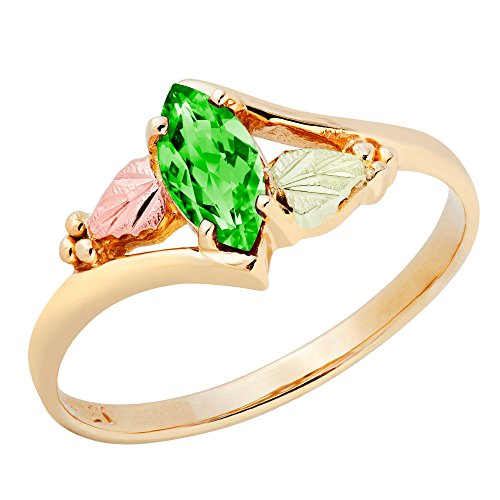 Created Emerald Marquise Ring, 10k Yellow Gold, 12k Green and Rose Gold Black Hills Gold Motif, Size 7.5