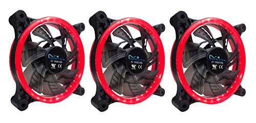APEVIA 312L-CRD 120mm Silent Dual Rings Red LED Fan with 32 x LEDs & 8 x Anti-Vibration Rubber Pads (3 Pk) (Case Inch 3 Computer Fan)