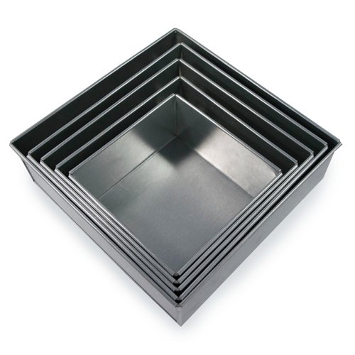 5 Tier Square Multilayer Wedding Birthday Anniversary Cake Baking Tins - Cake Pans 6'' 7'' 8'' 9'' 10'' - EUROTINS