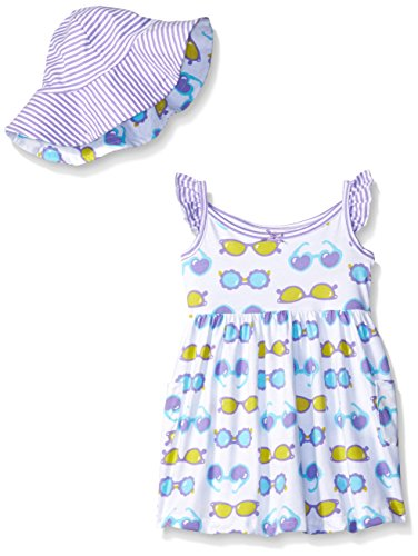 Gerber Little Girls' Toddler Two-Piece Sundress and Hat Set, Sunglasses, 5T