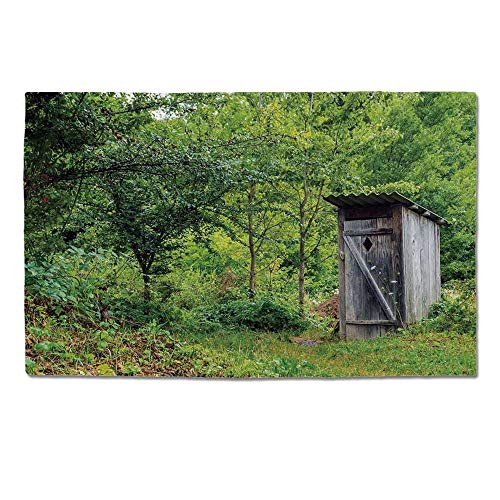 YOLIYANA Outhouse Durable Door Mat,Old Ancient Cottage Outhouse in a Spring Mountian Forest Woods Image for Home Office,One Size -