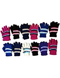 12 Pair Pack Of excell Kids Warm Winter Colorful Magic Stretch Gloves And Mittens
