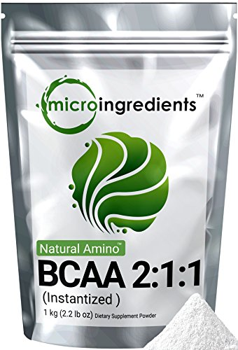 Micro Ingredients Plant-Based Pure BCAA 2:1:1 Powder (Instantized), 1 Kg (2.2 lb)