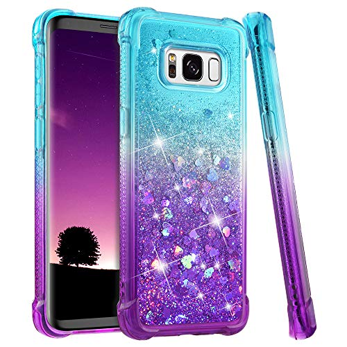 Samsung Galaxy S8 Case, Ruky Gradient Quicksand Series Glitter Bling Flowing Liquid Floating Soft TPU Bumper Cushion Protective Women Girls Cute Case for Galaxy S8 (Teal Purple)