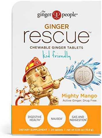 Ginger Rescue - Chewable Ginger Tablets by The Ginger People for Motion Sickness, Nausea, Morning Sickness, Mighty Mango, 24 tabs, Kid Friendly