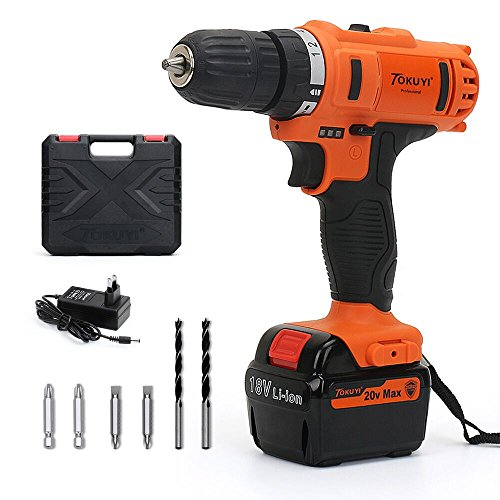 TOKUYI 20V Max Lithium Cordless Driver Set - 3/8-inch Chuck 2-Speed Max Torque 32 Nm 18+1 Position with LED, 1 Hour Fast Charger, Drill and Impact Combo Project Kit with 10 Accessories