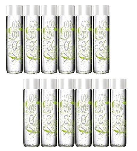 Voss Artesian Lime Mint Sparkling Flavored Water (375 ml) Glass Bottle - 12 Pack
