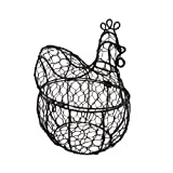 Cheap Metal Decorative Boxes Metal Rooster Basket W/Hinged Lid Wire Mesh Container 9 X 10 X 6.75 Inches Black
