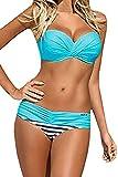 Happy Sailed Women Fashion Push Up 2 Piece Bikini Candy Padded Swimwear, Large Blue