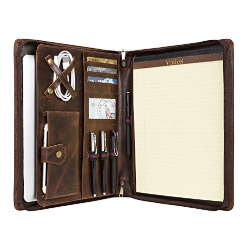 (Handmade Vintage Leather Padfolio Portfolio Case Zippered Business Organizer Tablet Folio Folder with Letter Size Notepad, Crazy Horse Leather, Gift for Women & Men (Brown, Custom))