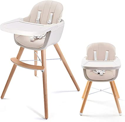 Asunflower Wooden High Chair 3 in 1 Convertible Modern Highchair with Cushion, Adjustable Feeding High Chair for BabyInfantToddler