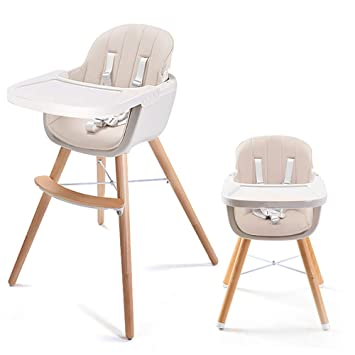 Asunflower Wooden High Chair For Toddlerinfantbaby 3 In 1 Convertible Modern Highchair Solution With Cushion Adjustable Feeding Chair With Tray