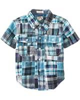 Hatley Little Boys' Button Down Shirt- Madras Plaid with Chambra Collar