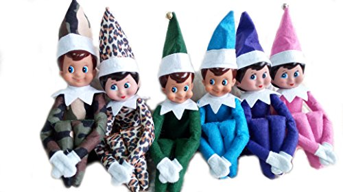 [LICY Christmas Novelty Elf on the Shelf Plush Dolls (6p Camo Leopard)] (Minnie Mouse Nose)