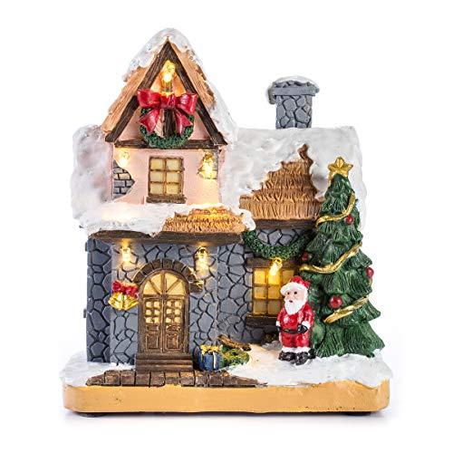 "innodept12 6"" Resin Christmas Scene Village Houses Town with Warm White LED Light Battery Operate Christmas Ornamnet (601)"