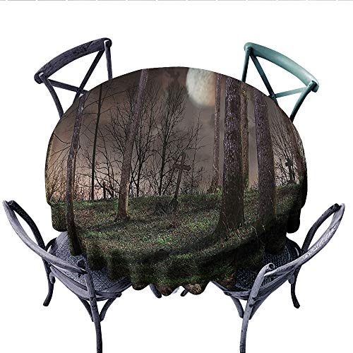 Gothic Decor Collection Circle Tablecloth Dark Night in The Forest with Full Moon Horror Theme Grunge Style Halloween Photo Flannel Tablecloth (Round, 54 Inch, Brown Green -