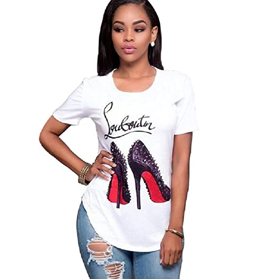 1ab081e4 Topways Smummer Women's Round Neck Graphic Print T-Shirt Casual Blouse,  High Heels (