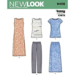 NEW LOOK just 4 Knits wardrobe pattern includes knit tank, tee shirt, pull on pants, maxi skirt and maxi dress with side slits. Easy to sew & great for travel.
