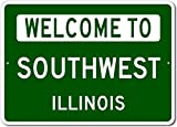 The Lizton Sign Shop Welcome To Southwest, Illinois - Aluminum U.S. City State Novelty Sign - Green - 12''x18''