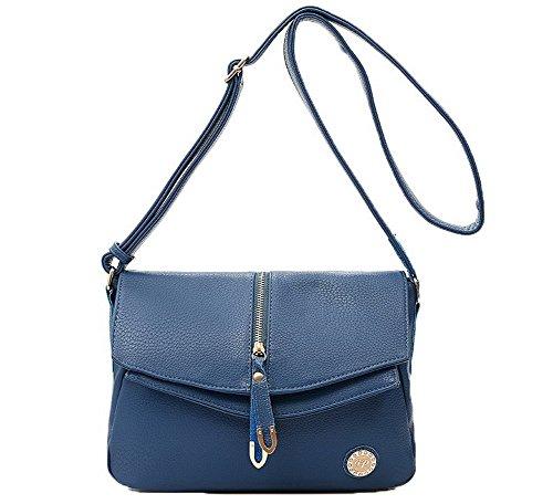 AllhqFashion Femme Pu Cuir Des sacs Achats Zippers Sacs à bandoulière,FBUFBD180871 Bleu