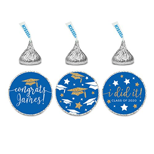 Andaz Press Royal Blue and Gold Glittering Graduation Party Collection, Personalized Chocolate Drop Label Stickers Trio, 216-Pack, Custom Name, Fits Hershey's Kisses Party Favors]()