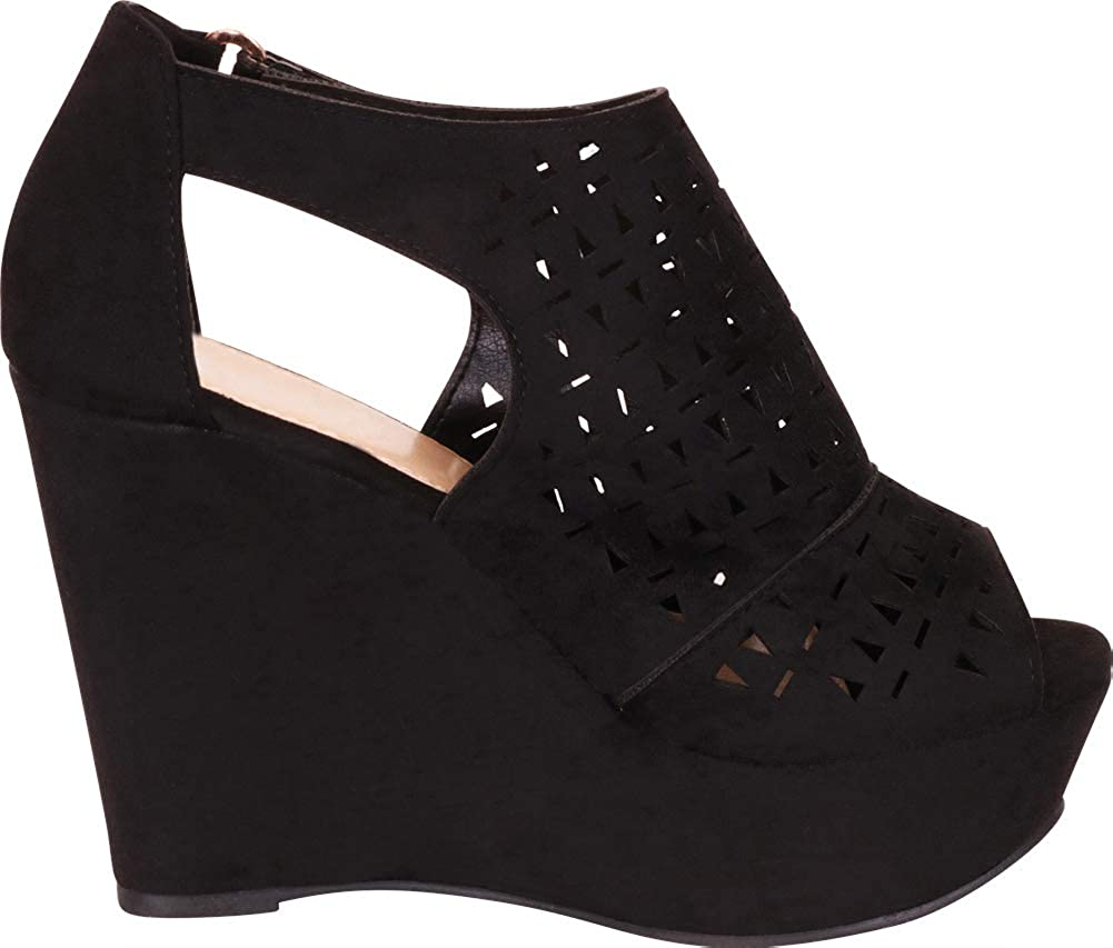 Cambridge Select Womens Open Toe Laser Cutout Caged Chunky Platform Wedge Sandal