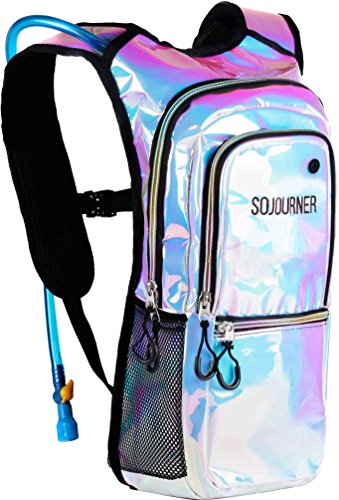 Sojourner Rave Hydration Pack Backpack - 2L Water Bladder Included for Festivals, Raves, Hiking, Biking, Climbing, Running and More (Holographic - Blue) ()