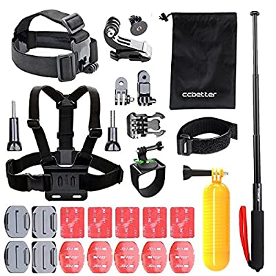 CCbetter 50-in-1 Sports Action Camera Accessories Kit for Gopro HERO 1 2 3 3+ 4 SJ4000 SJ5000 SJ6000 Xiaomi Yi CCbetter Waterproof Video Camera with Carrying Case (Black)