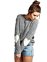 Women's cute Heart Pattern Patchwork Long Sleeve Round Neck Knits Sweater Pullover