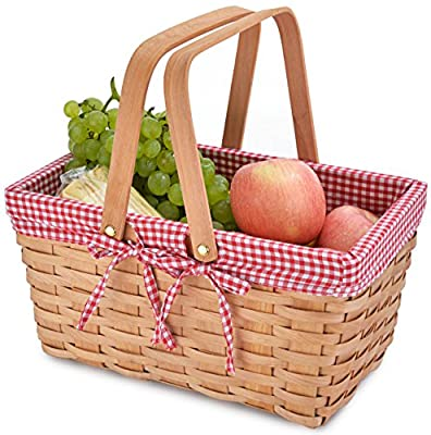 Picnic Basket Natural Woven Woodchip with Double Folding Handles   Easter Basket   Storage of Plastic Easter Eggs and Easter Candy   Organizer Blanket Storage   Bath Toy and Kids Toy Storage