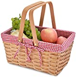 Picnic Basket Natural Woven Woodchip with Double Folding Handles |...