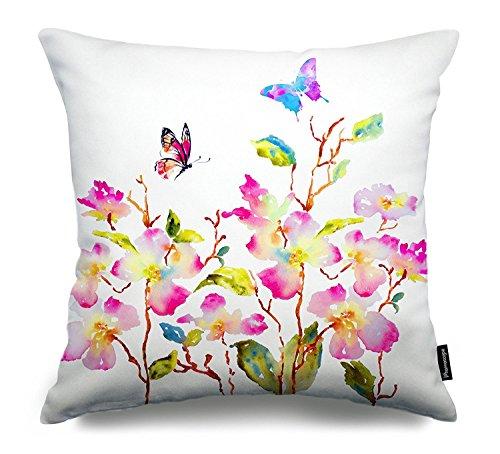 "Phantoscope® Watercolor Series Decorative Throw Pillow Case Cushion Cover Butterflies & Flowers 18 ""X18 """