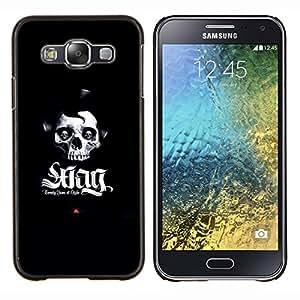 SWAG cráneo- Metal de aluminio y de plástico duro Caja del teléfono - Negro - Samsung Galaxy E5 / SM-E500