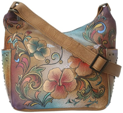 Anuschka Women's Genuine Leather Shoulder Bag | Hand Painted Original Artwork | Classic Hobo With Studded Side Pockets | Henna Floral
