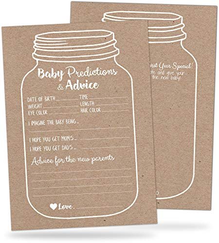 50 Mason Jar Baby Shower Prediction and Advice Cards - Rustic Baby Shower Games for Boys or Girls - Baby Advice Cards with Well Wishes for Baby, New Mommy and Parents - Gender Neutral Baby Shower Game (Girl Winnie The Pooh Baby Shower Invitations)