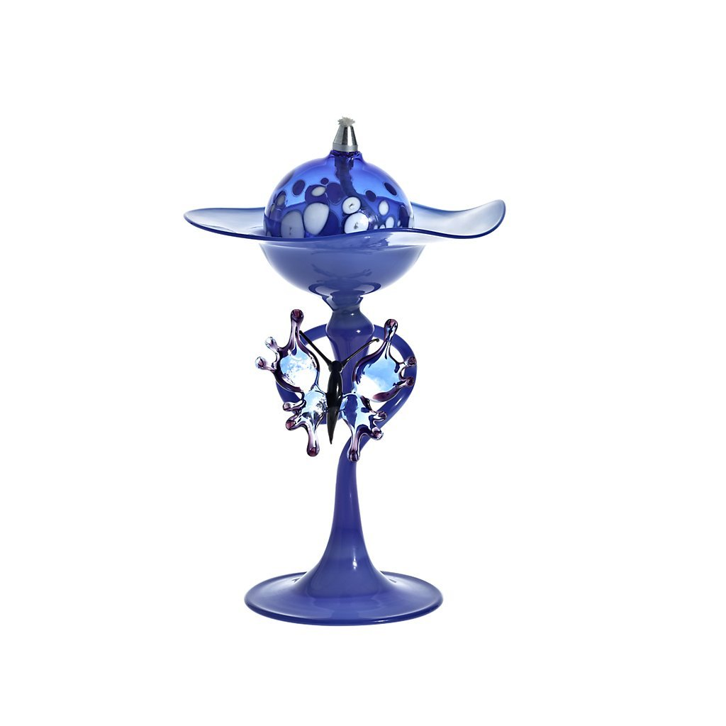 Decorative Oil Lamp with glass butterfly, Collection ''Bloom'', 15 cm, blue, handmade, handblown glass (ART GLASS powered by CRISTALICA) by CRISTALICA
