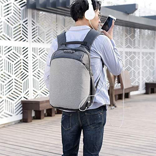 Casque Bag vol Laptop Grey USB Notebook Port School Travel Backpack Nouveau Senoow Anti Men Fqwaa4